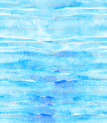 Caribbean Blue Watercolor Faux Batik Quilting Solid
