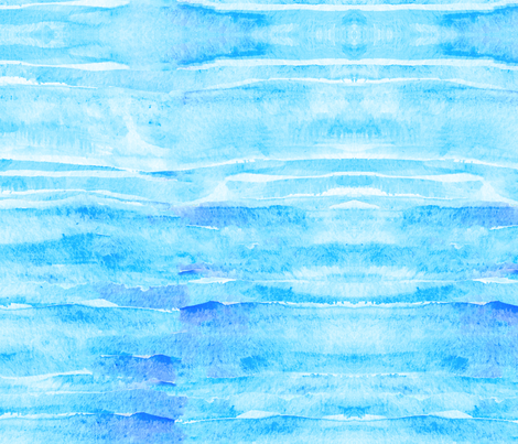 Caribbean Blue Watercolor Faux Batik Quilting Solid  fabric by theartwerks on Spoonflower - custom fabric