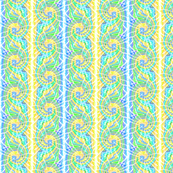 Tie Dye Spiral Stripe in Aqua Yellow and Green