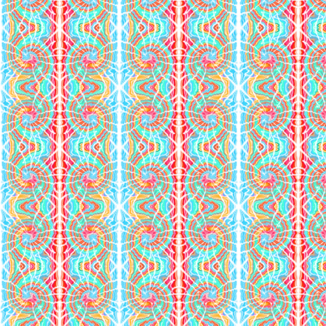 Tie Dye Ramshorn Spiral in Aqua Teal and Red fabric by eclectic_house on Spoonflower - custom fabric