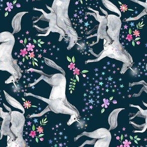 Horizontal Mom and baby unicorns with stars on dark