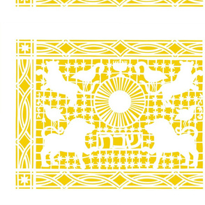Cut Paper Challah Cover Yellow on White