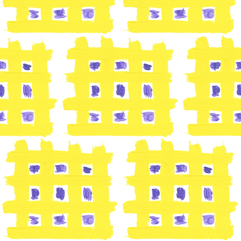Yellow Waffles with Purple Syrup fabric by anniedeb on Spoonflower - custom fabric