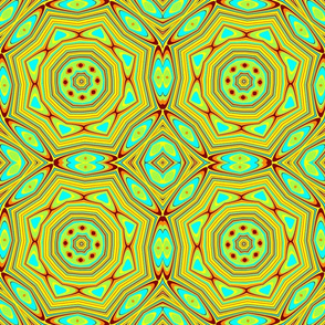 lime green brown yellow turquoise orange kaleidoscope