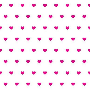 Tiny pink hearts on white