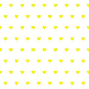 Tiny yellow hearts on white
