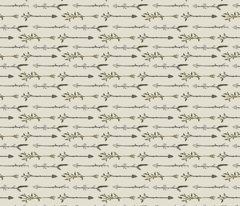 Twiggy Arrows Uneven - Cream fabric by fernlesliestudio on Spoonflower - custom fabric