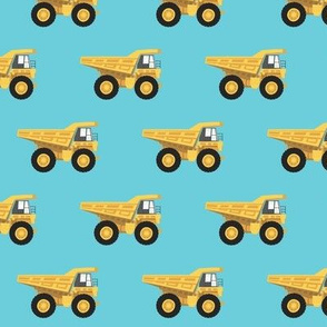 dump trucks - yellow on blue
