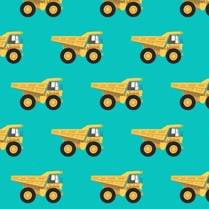 dump trucks - yellow on green