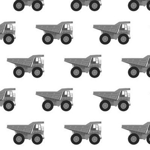 dump trucks - grey scale