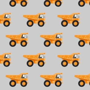 dump trucks - orange on grey