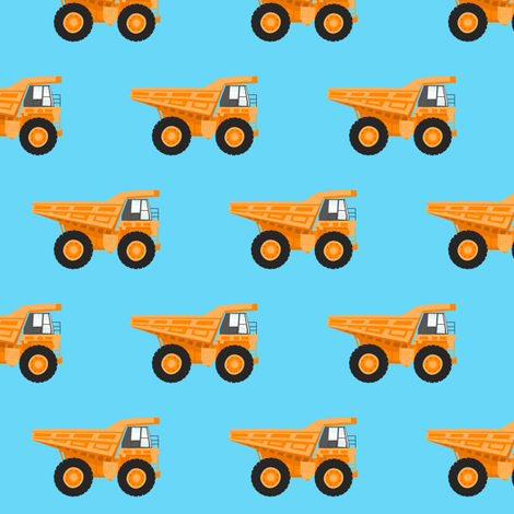 Dump trucks orange on blue fabric littlearrowdesign for Little blue truck fabric