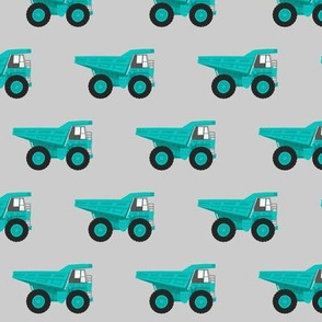 dump trucks - green on grey
