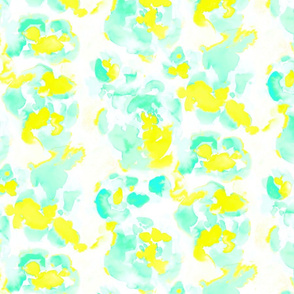 Abstract Flora Bright Yellow and Mint Medium Scale
