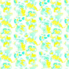 Abstract Flora Bright Yellow and Mint Small Scale
