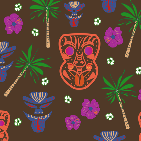 Tiki Warriors fabric by gargoylesentry on Spoonflower - custom fabric