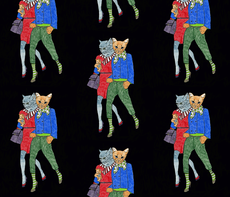 cats taking a stroll fabric by flying_cat on Spoonflower - custom fabric