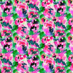 Abstract Flora Pink and Green Small Scale