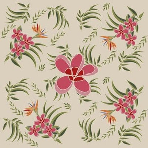 Vintage Plumeria and Bird of Paradise