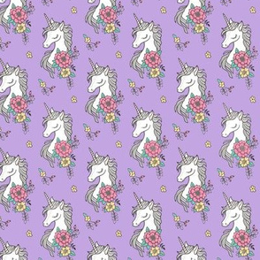 Dreamy Unicorn & Vintage Boho Flowers on  Purple  Smaller 2 inch