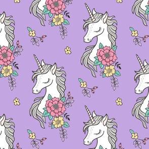 Dreamy Unicorn & Vintage Boho Flowers on  Purple  Smaller