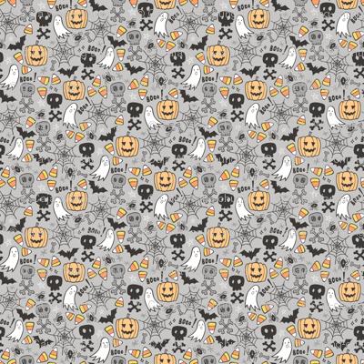 Halloween Doodle with Skulls,Bat,Pumpkin,Spider web,Ghost on Light Grey Tiny Small