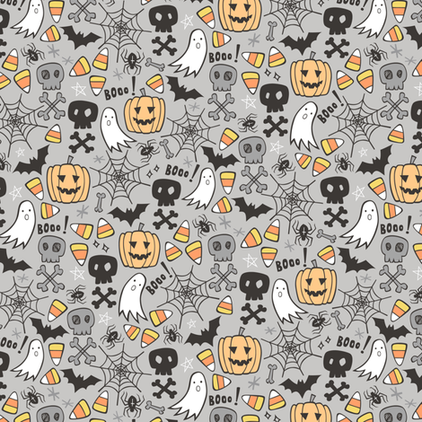 Halloween Doodle with Skulls,Bat,Pumpkin,Spider web,Ghost on Light Grey Tiny Small fabric by caja_design on Spoonflower - custom fabric