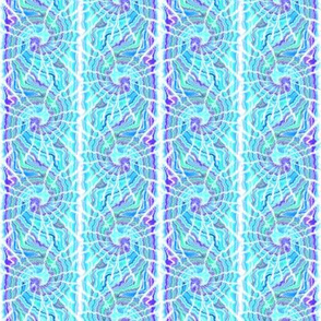 Tie Dye Spiral Stripe in Aqua and Purple