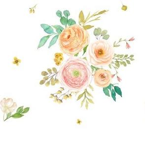 """8"""" Peach & Pink Florals - White"""