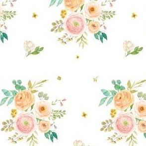 """4"""" Peach & Pink Florals - White"""