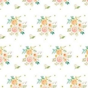 """2"""" Peach & Pink Florals - White"""