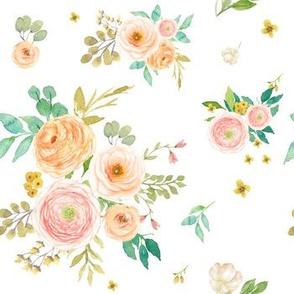 "7"" Peach & Pink Extra Florals - White"