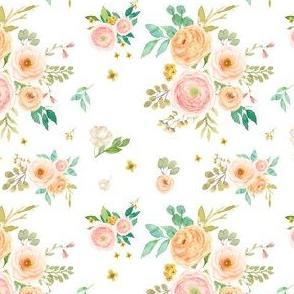 "4"" Peach & Pink Extra Florals - White"