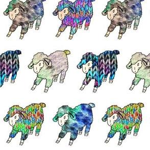 Rainbow Sheep on White