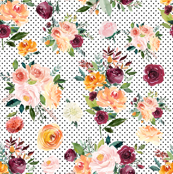 Autumn Floral Watercolor with Polka Dots