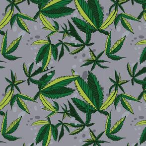 Gray Hemp Weed Leaves Print