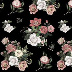 "14"" Heirloom Florals - Black"