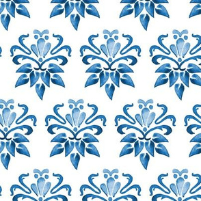 Indigo Blue Boho Floral Damask Watercolor Home Decor Navy White_Miss Chiff Designs