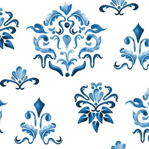 17-10M Indigo Blue Boho Damask Watercolor  Home Decor White Navy_ Miss Chiff Designs