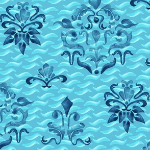 Indigo Turquoise Blue Damask Watercolor Painterly Boho_Miss Chiff Designs