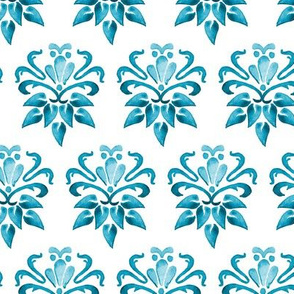 Nautical Blue Watercolor Damask Floral Turquoise _Miss Chiff Designs
