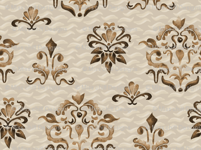 Damask Watercolor Beige Boho Chocolate Brown  Tan Taupe Modern Farmhouse_Miss Chiff Designs