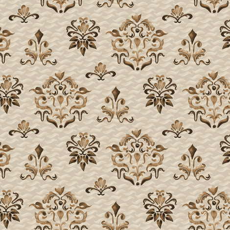 Damask Watercolor Beige Boho Chocolate Brown  Tan Taupe Modern Farmhouse_Miss Chiff Designs fabric by misschiffdesigns on Spoonflower - custom fabric