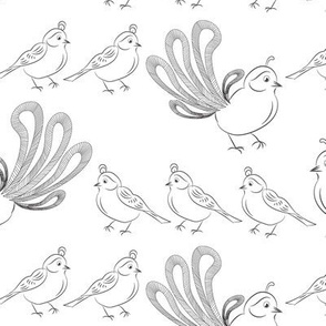 Quail Bird Animal Mom Mama Chicks Baby Black and White_Miss Chiff Designs