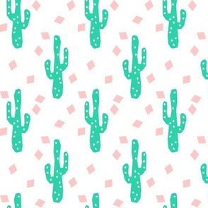 Geometric Pink and Green Cactus