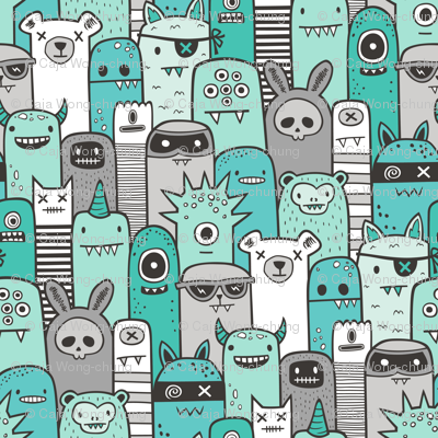 Monsters and Friends Mint Green