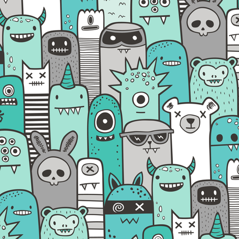 Monsters and Friends Mint Green fabric by caja_design on Spoonflower - custom fabric