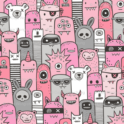 Monsters and Friends Pink