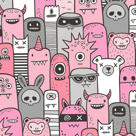 Monsters and Friends Pink fabric by caja_design on Spoonflower - custom fabric