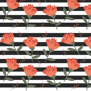 Coral Blooms on Black Stripes